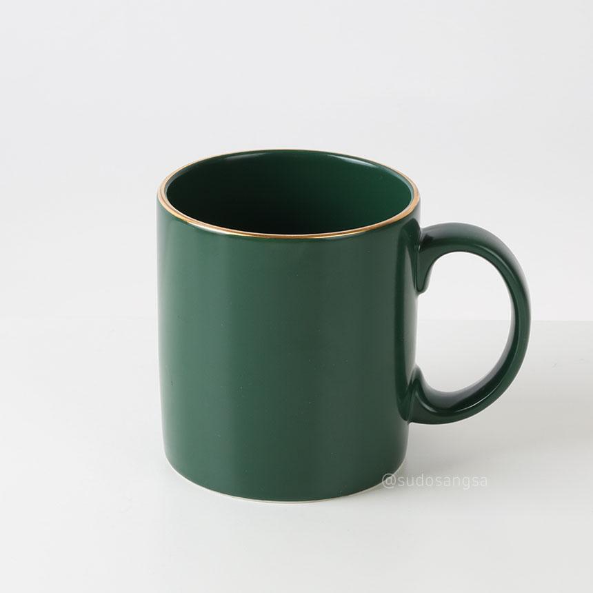 칼디 KALDI 일자머그 금장 아메리카노잔,라떼잔 400ml 진녹색