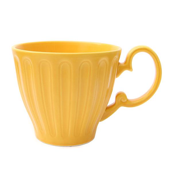 위즈라인 줄머그/머그컵/라떼컵/음료컵 무광 400ml 옐로우