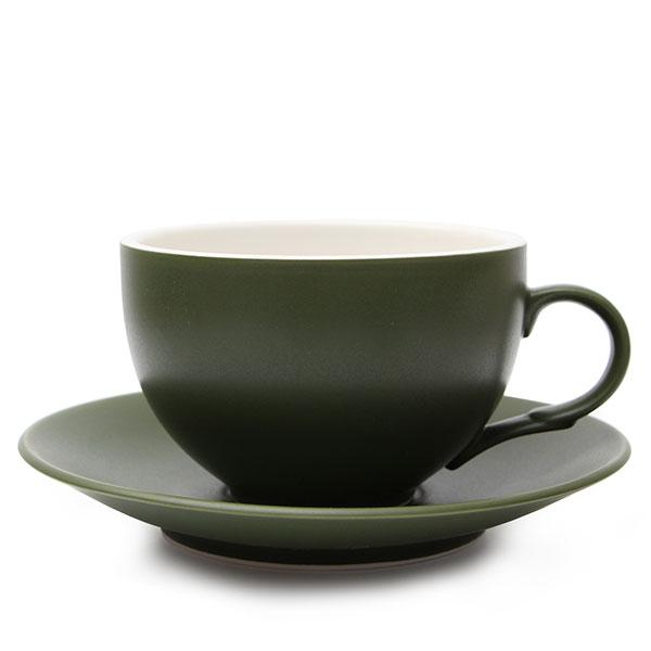 위즈라인 커피잔/라떼잔 무광 까페그릇 대 350ml 다크그린