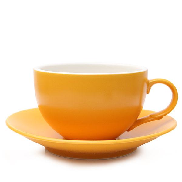 위즈라인 커피잔/라떼잔 무광 까페그릇 대 350ml 옐로우