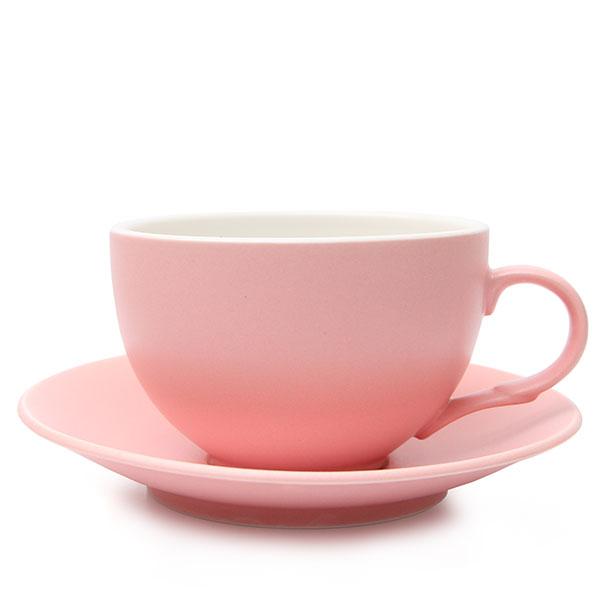 위즈라인 커피잔/라떼잔 무광 까페그릇 대 350ml 핑크