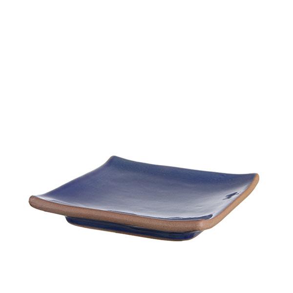 정사각 접시 핸드메이드 유광 블루
