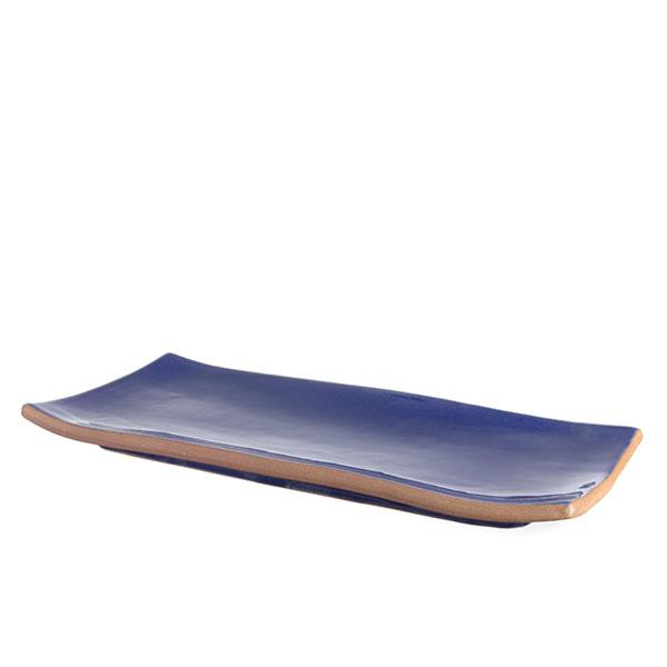 직사각 접시 핸드메이드 유광 블루