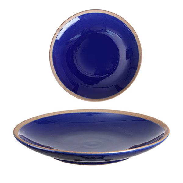 원형 접시 핸드메이드 유광 대 블루