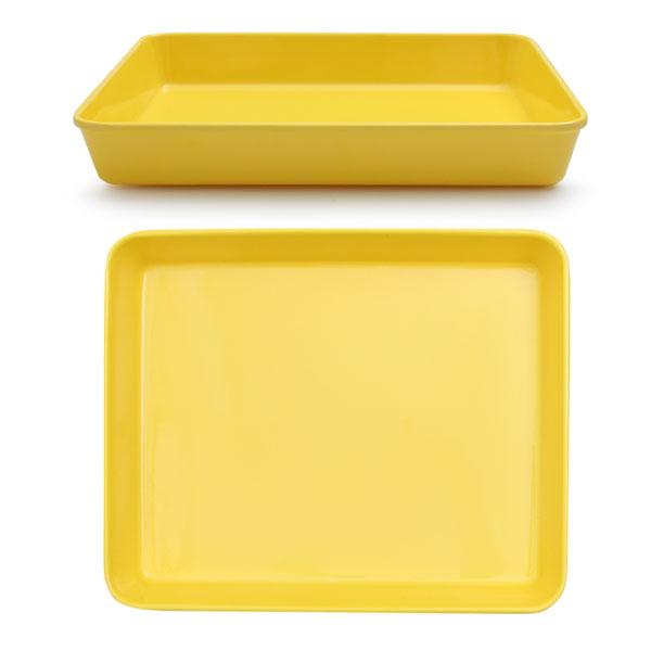 멜라민  높은 쟁반 29 x 23 x 4 옐로우 아기 유아 식판 유치원 어린이집 식판