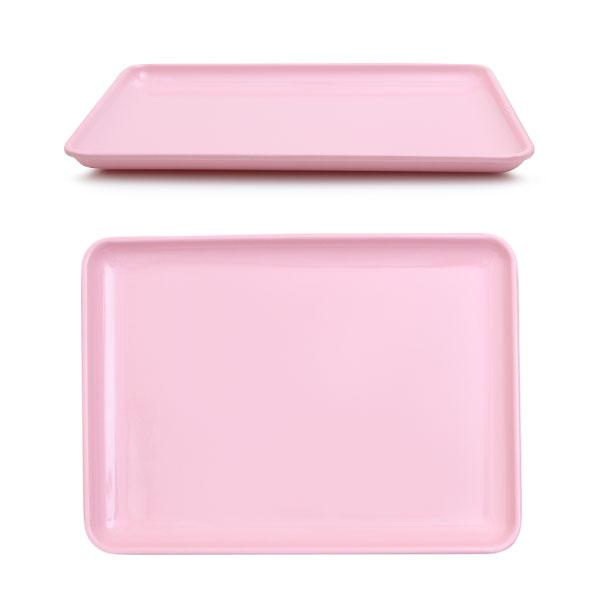 멜라민  낮은 쟁반 30 x 21.8 x 2 핑크 아기 유아 식판 유치원 어린이집 식판