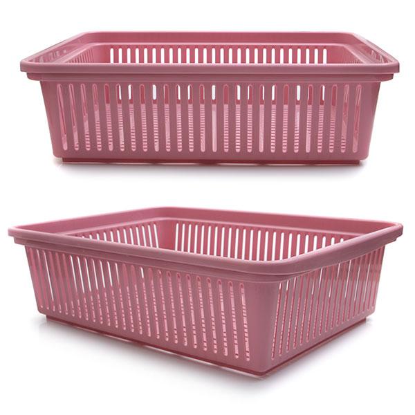 다용도 수납 바구니 43.7 x 31.8 x 13 핑크컬러