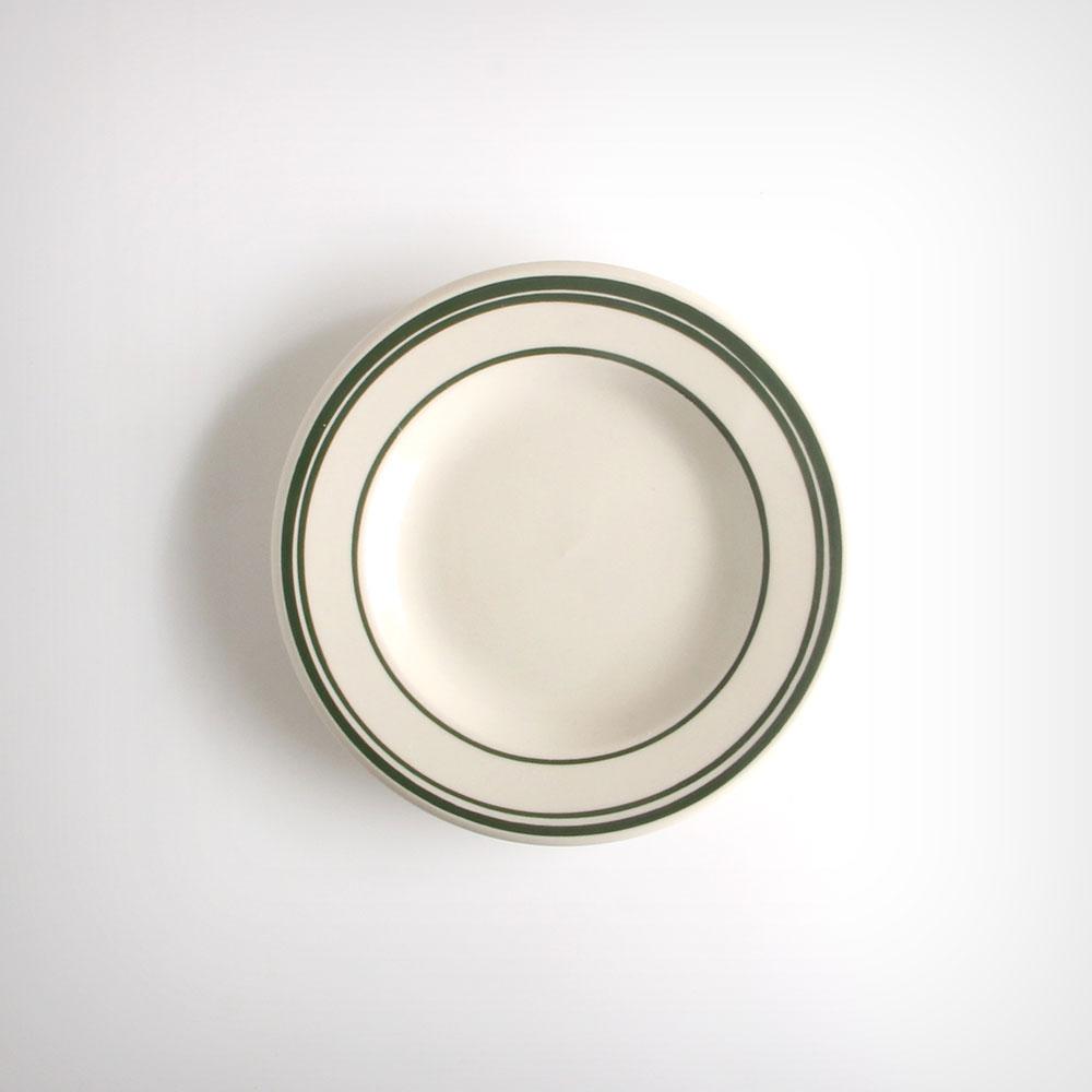ULTIMA 네츄럴 다크그린 원형 플레이트 접시 소 아이보리