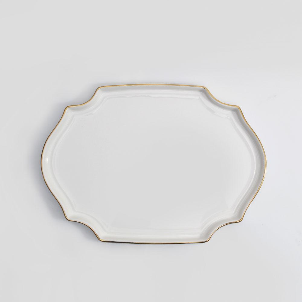 위즈라인 플레이팅 팔각 골드라인 접시 1호 22.5 화이트