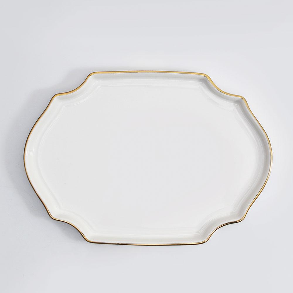 위즈라인 플레이팅 팔각 골드라인 접시 2호 28.5 화이트