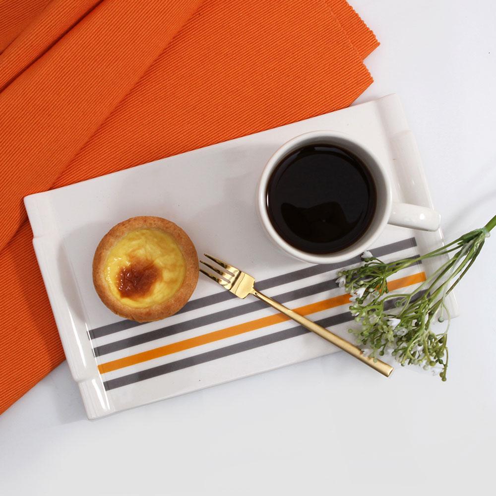design J 감성스타일 그레이앤 오렌지 직사각 접시 25.5 투톤그레이오렌지
