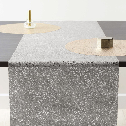 ZICZAC 스파게티 테이블 러너 직사각형 실버