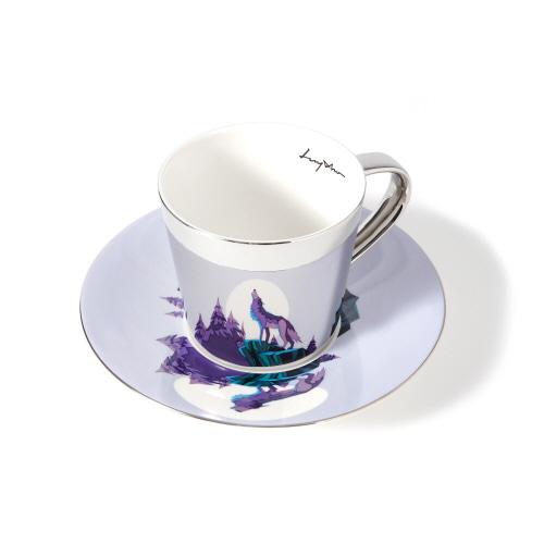 루이초 회색늑대 미러컵+컵받침세트 원형 medium 실버