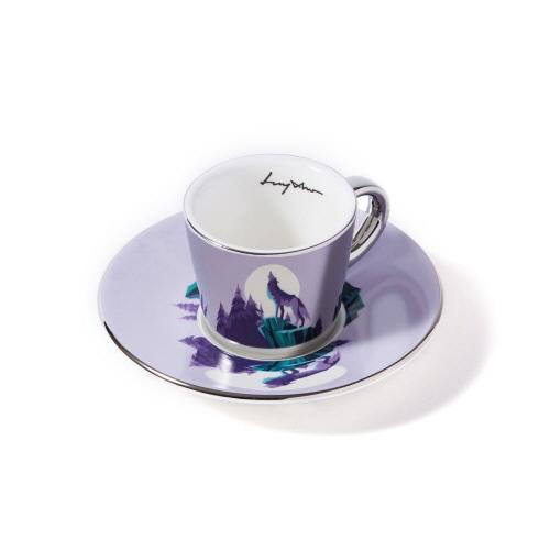 루이초 회색늑대 미러컵+컵받침세트 에스프레소 실버