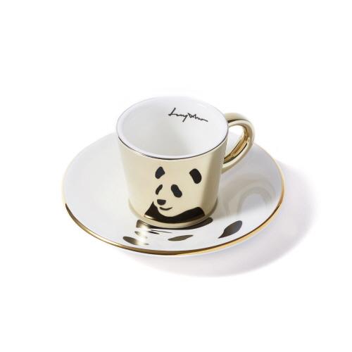 루이초 자이언트팬더 미러컵+컵받침세트 에스프레소 골드
