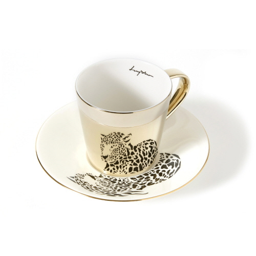 루이초 아무르표범 미러컵+컵받침세트 원형 medium 골드