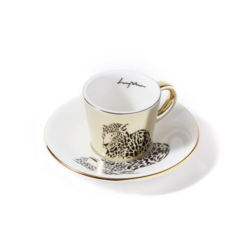 루이초 아무르표범 미러컵+컵받침세트 에스프레소 골드