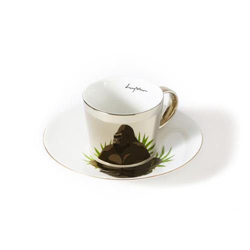 루이초 로랜드고릴라 미러컵+컵받침세트 에스프레소 골드