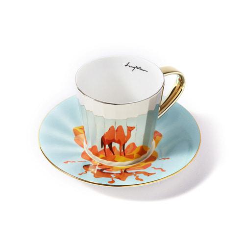 루이초 쌍봉낙타 미러컵+컵받침세트 각형 medium 골드