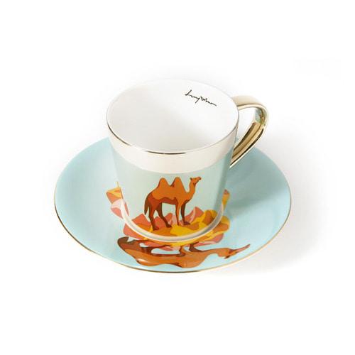 루이초 쌍봉낙타 미러컵+컵받침세트 원형 medium 골드