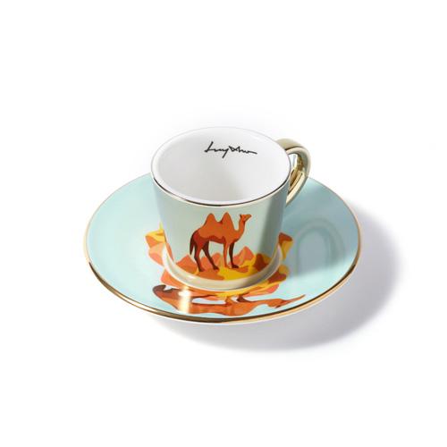 루이초 쌍봉낙타 미러컵+컵받침세트 에스프레소 골드