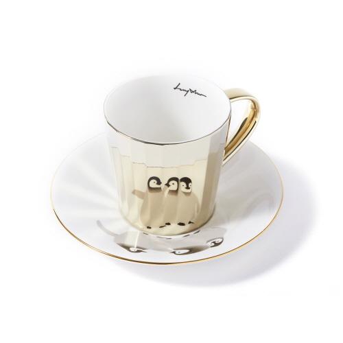 루이초 아기황제팽귄 미러컵+컵받침세트 각형 medium 골드
