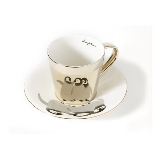 루이초 아기황제팽귄 미러컵+컵받침세트 원형 medium 골드