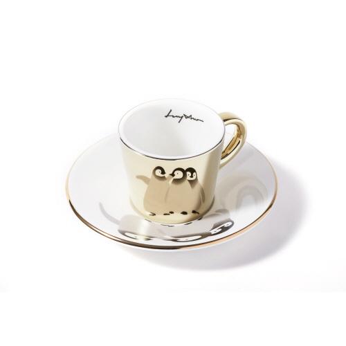 루이초 아기황제팽귄 미러컵+컵받침세트 에스프레소 골드