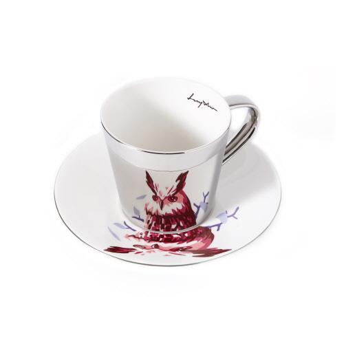 루이초 수리부엉이 미러컵+컵받침세트 원형 medium 실버