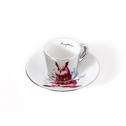 루이초 수리부엉이 미러컵+컵받침세트 에스프레소 실버
