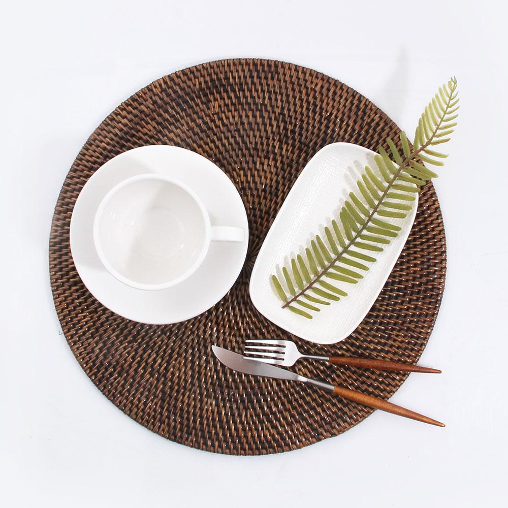수도그릇 라탄 테이블 매트 라운드 원형 355 브라운